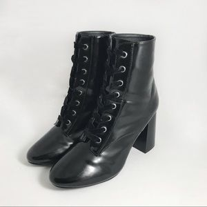 Forever 21 Lace Up Block Heel Combat Boots